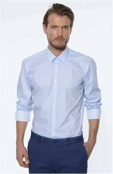 Baskılı Rahat Kesim Beyaz Mavi Gömlek