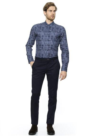 Baskılı Slım Fit Lacivert - Mavi Gömlek