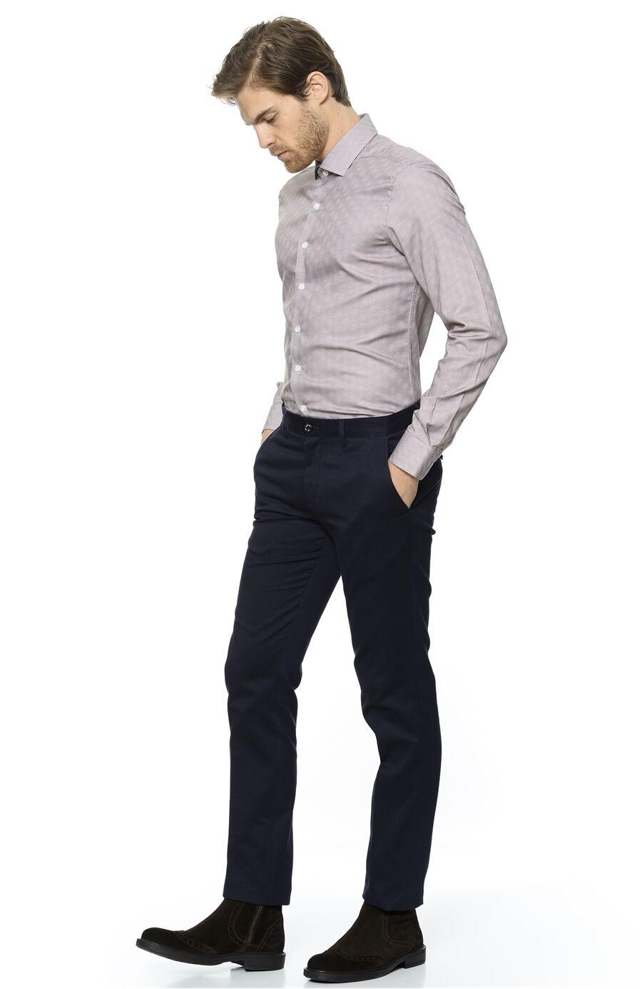 Baskılı Rahat Kesim Lacivert-Kahverengi Gömlek