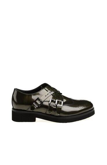 Zımba Desenli Yeşil Deri Ayakkabı