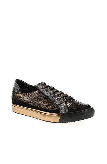 Metalik Kahverengi Deri Sneaker
