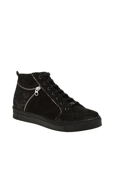 Yılan Baskı Siyah Sneaker Bot