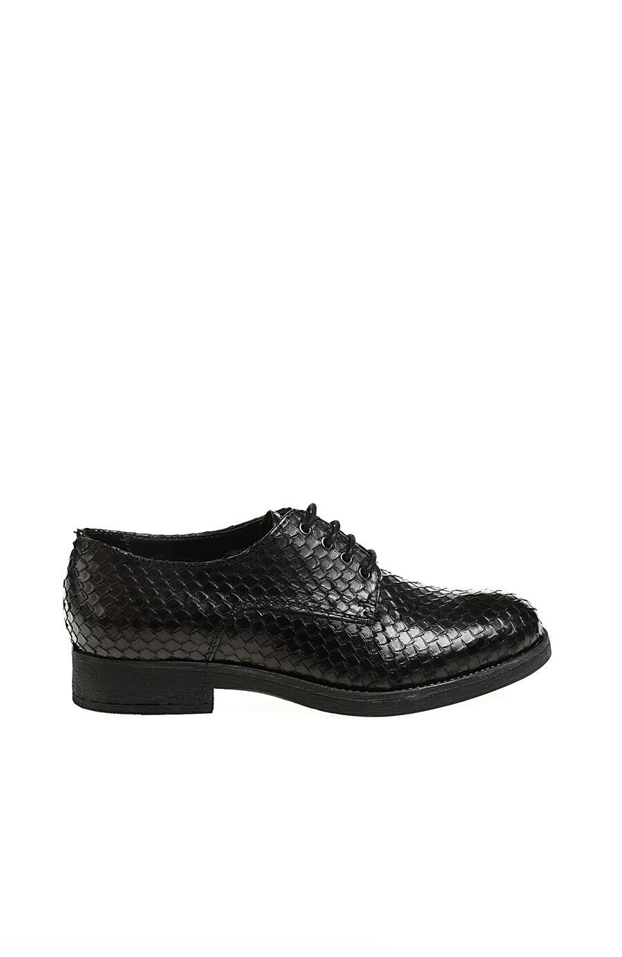 Yılan Derisi Baskılı Siyah Ayakkabı
