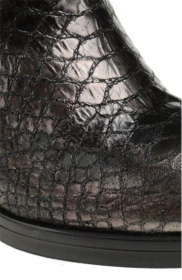 Zımba Desenli Krokodil Baskılı Kurşun Bot