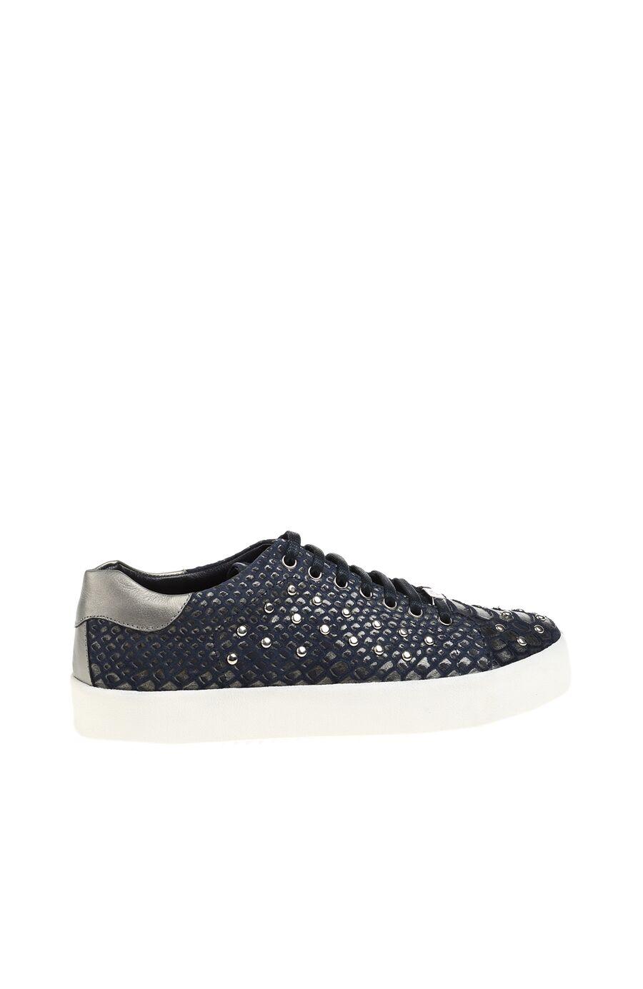 Zımba Desenli Lacivert Deri Sneaker