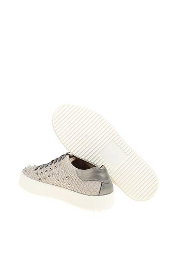 Zımba Desenli Kemik Deri Sneaker