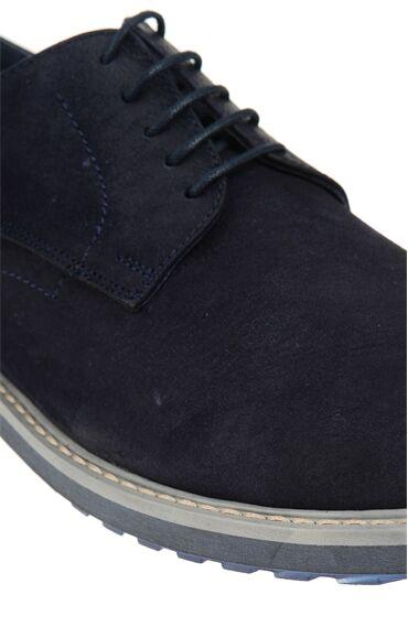 Bağcıklı Lacivert Deri Ayakkabı