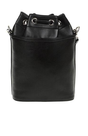 Siyah Zımbalı Kova Çanta
