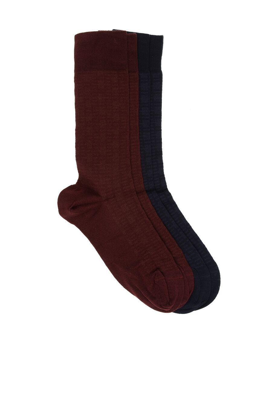 Bamboo Desenli Lacivert - Bordo 2'li Erkek Çorap Seti