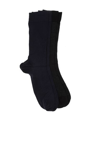 Bamboo Desenli Siyah Lacivert 2'li Çorap Set