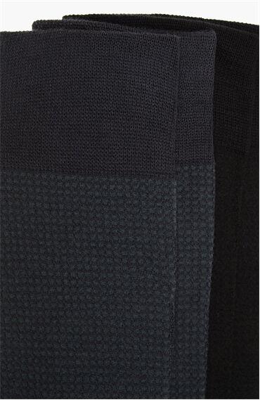 Bamboo Desenli Siyah Antrasit 2'li Erkek Çorap Seti