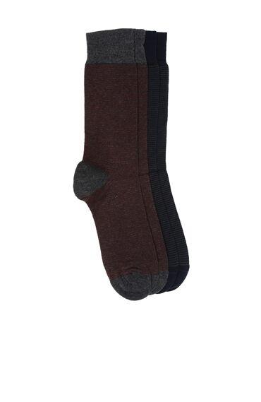 Bamboo Çizgili Lacivert 2'li Çorap Set