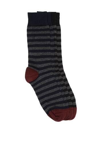 Bamboo Çizgili Siyah Lacivert 2'li Çorap Set