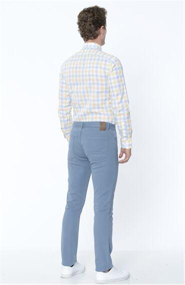 Armürlü Koyu Mavi Casual Pantolon