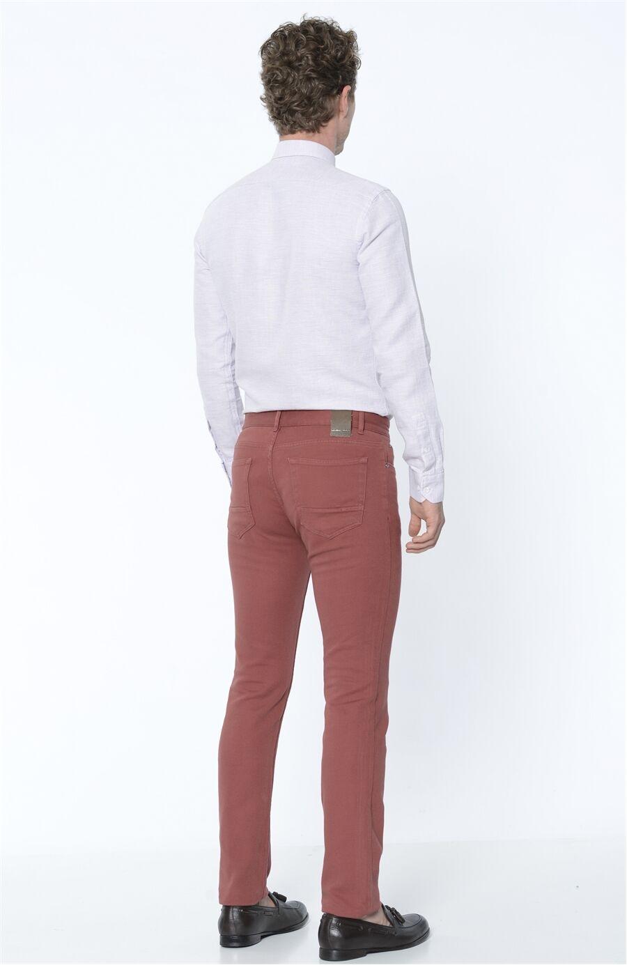 Armürlü Kırmızı Casual Pantolon