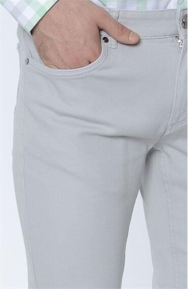 Armürlü Açık Gri Casual Pantolon