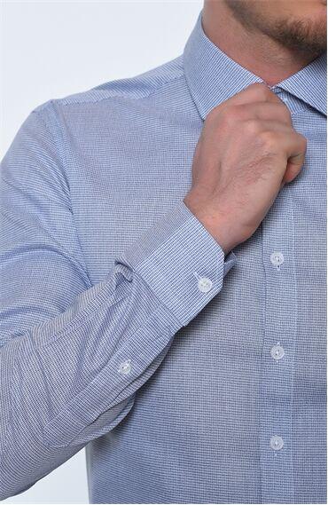 Desenli Rahat Kesim Lacivert Gömlek