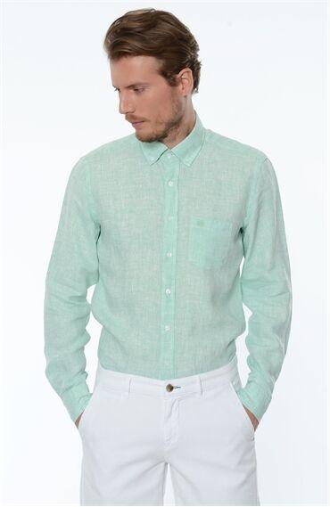 Açık Yeşil Keten Gömlek