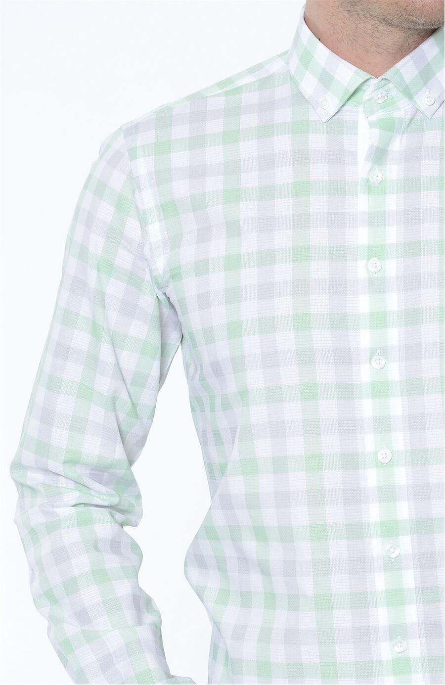 Ekose Açık Yeşil Gömlek