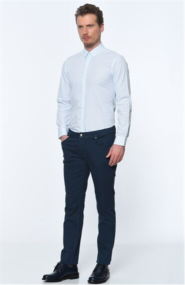 Emprime Rahat Kesim Beyaz Navy Mavi Gömlek