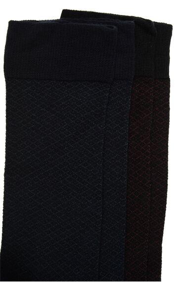 Bamboo Desenli Lacivert 2'li Çorap Set