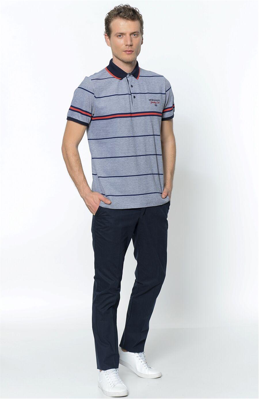 Polo Yaka Slim Fit Indigo Tshirt