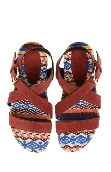 Desenli Bordo Deri Sandalet