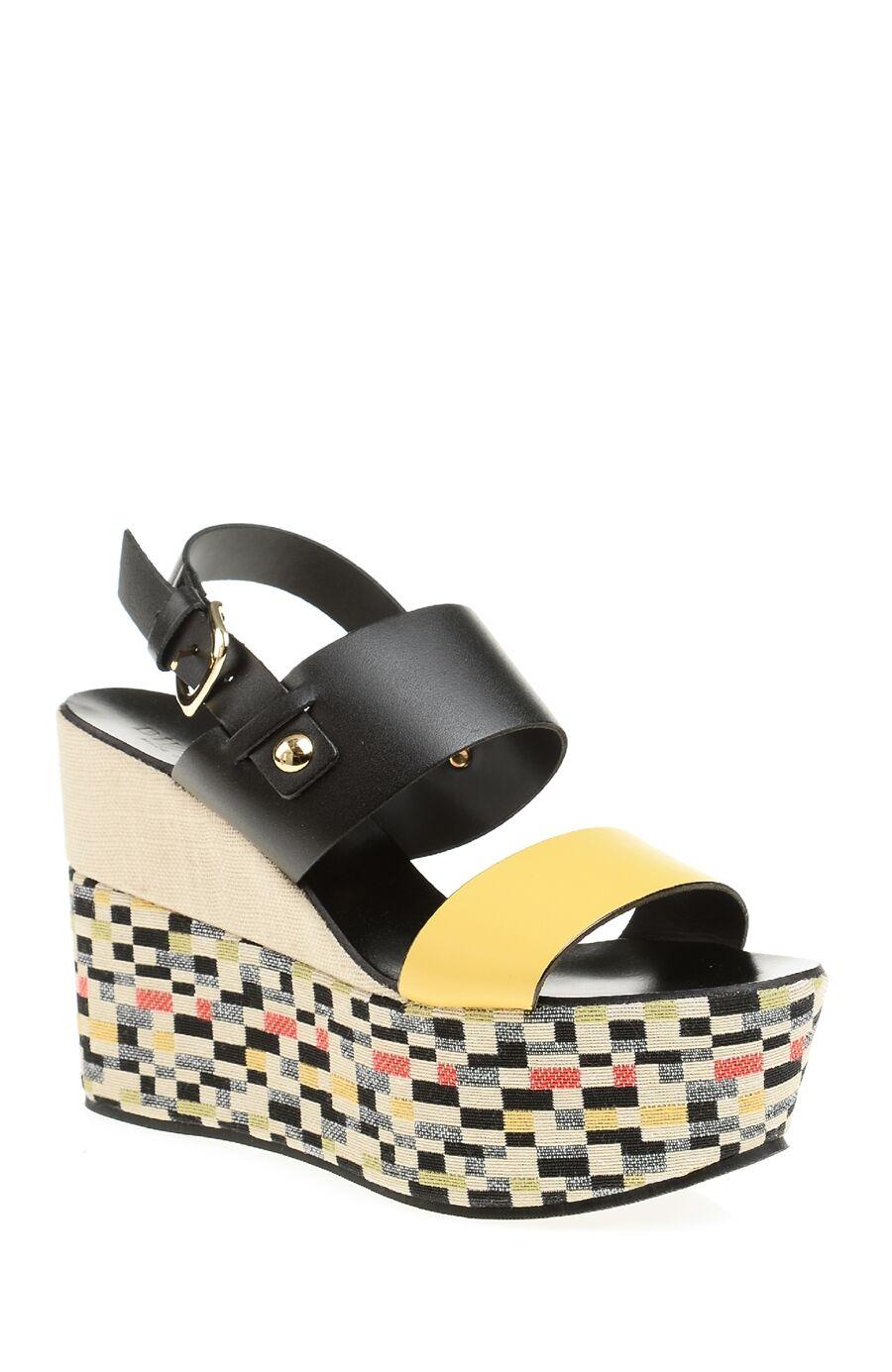 Desenli Sarı Siyah Deri Sandalet