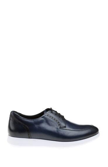 Bağcıklı Zımba Desenli Lacivert Deri Ayakkabı