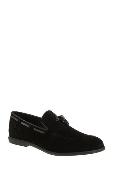 Püsküllü Siyah Deri Loafer
