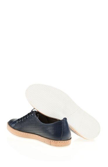 Blok Dokulu Lacivert Deri Ayakkabı