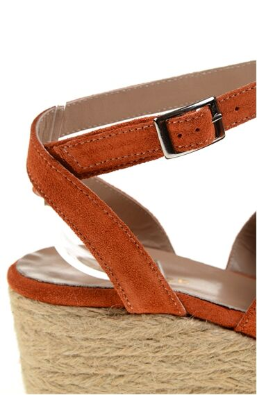 Turuncu Deri Sandalet