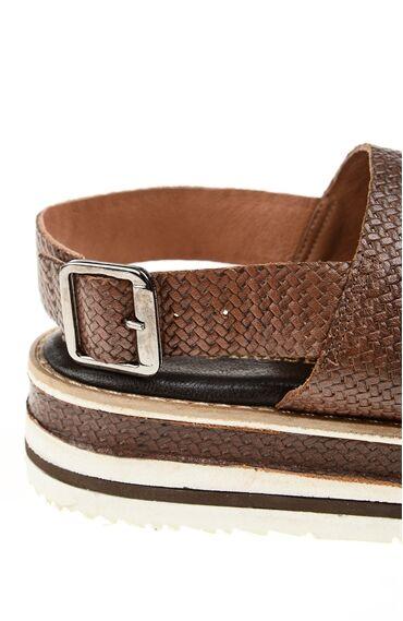 Kahverengi Deri Sandalet
