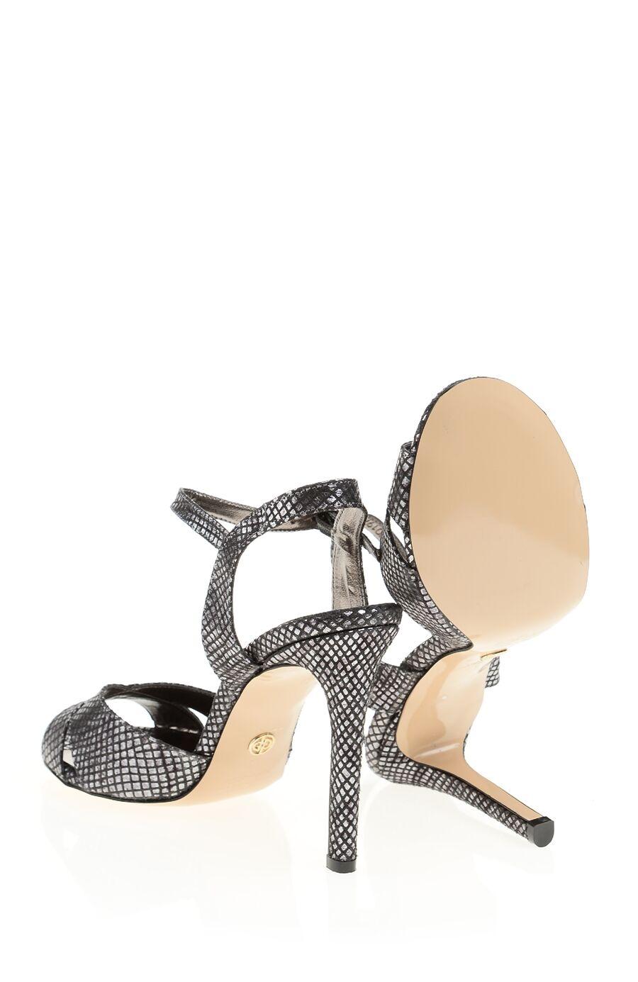 Yılan Baskılı Topuklu Deri Sandalet