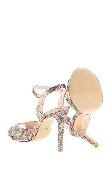 Yılan Baskı Rose Gold Sandalet