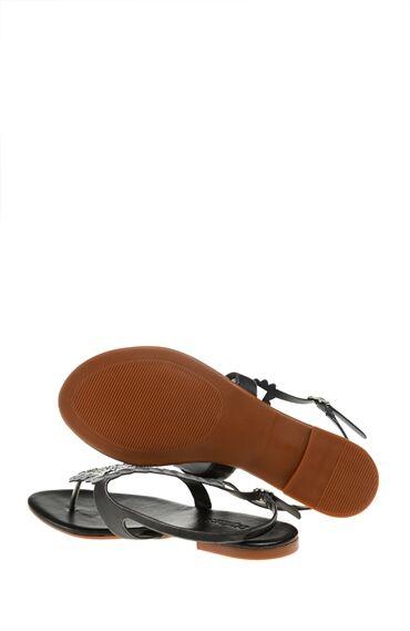 Kurşun Rengi Taşlı Sandalet