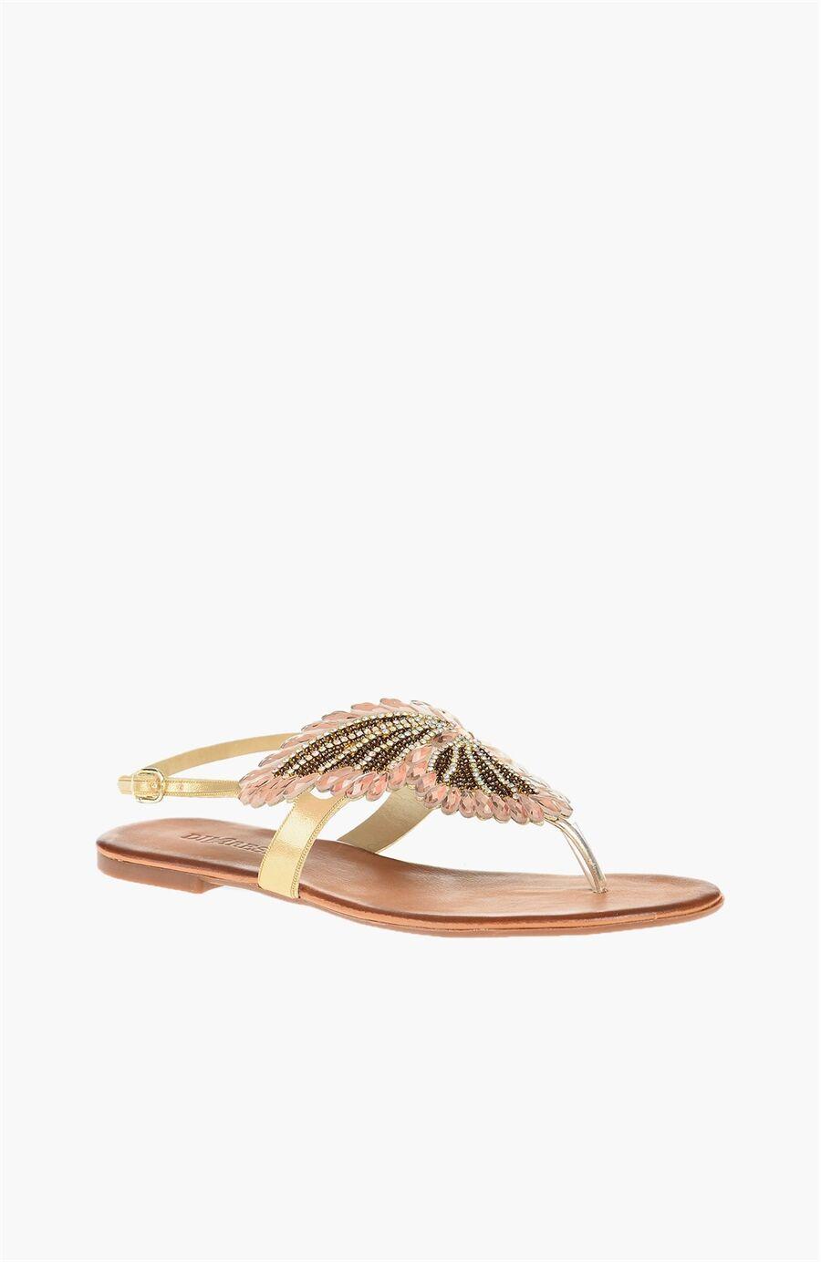 Altın Rengi Taşlı Sandalet