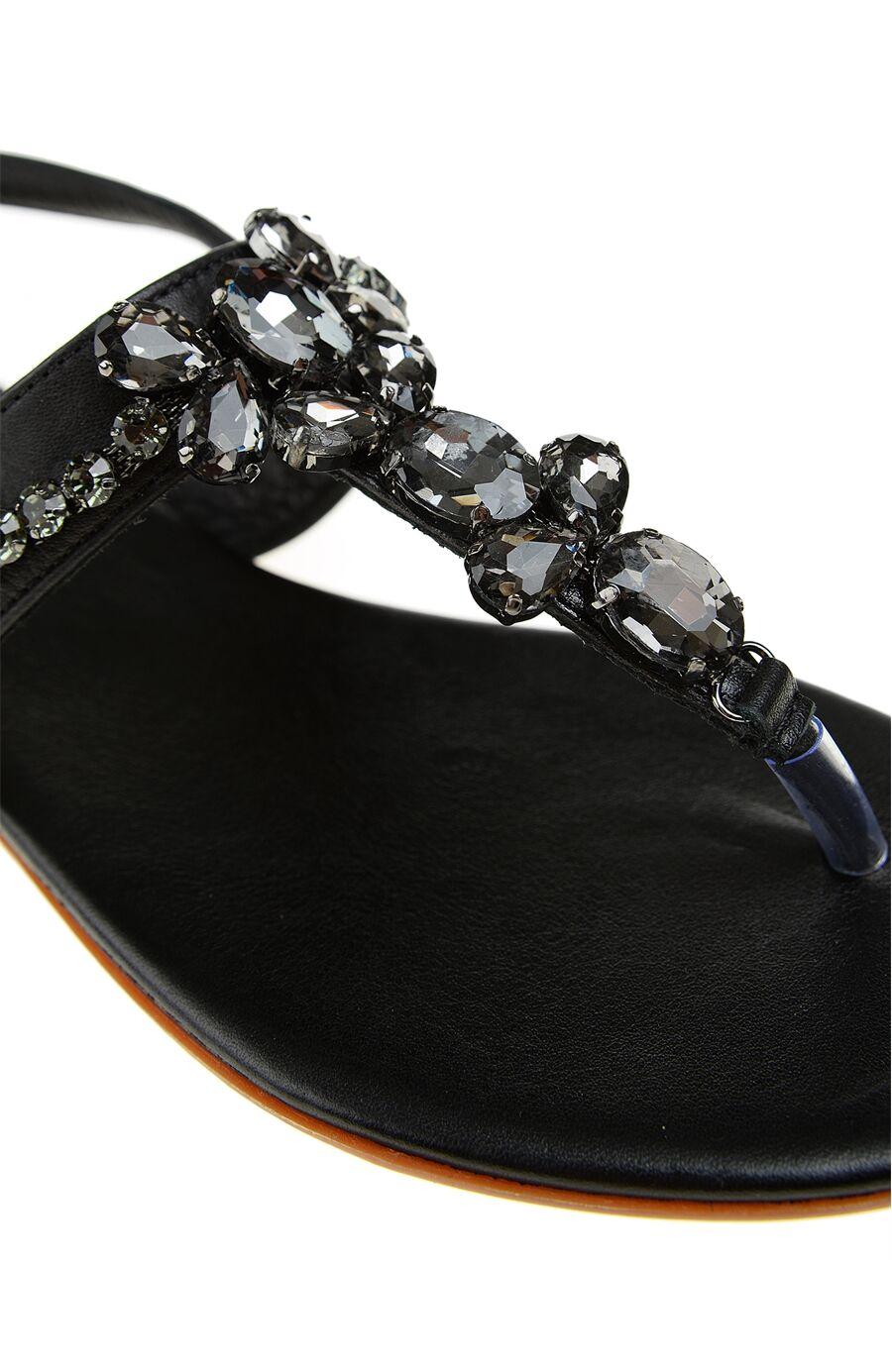 Taşlı Siyah Deri Sandalet