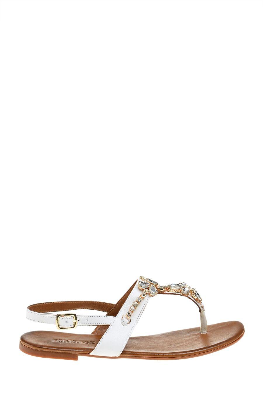 Taşlı Beyaz Deri Sandalet