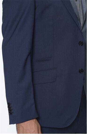 Çizgili Rahat Kesim Lacivert Yeleklı Takım Elbise