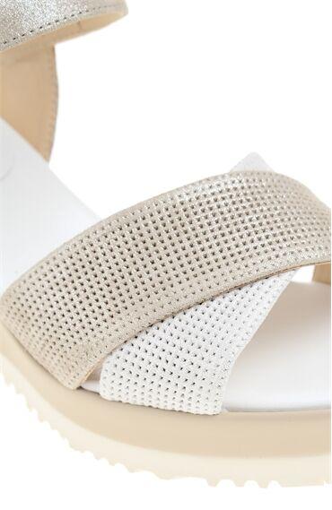 Platformlu Nubuk Bej Sandalet