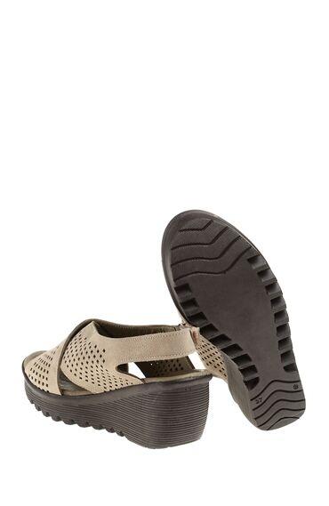 Vizon Rengi Deri Sandalet