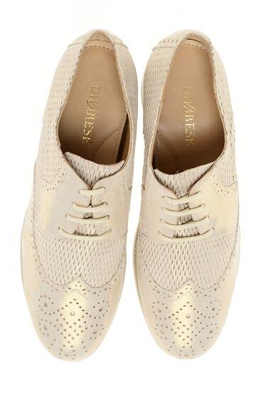 Bağcıklı Bej Rengi Deri Ayakkabı