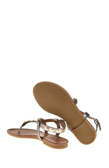 Kurşun Rengi Deri Sandalet