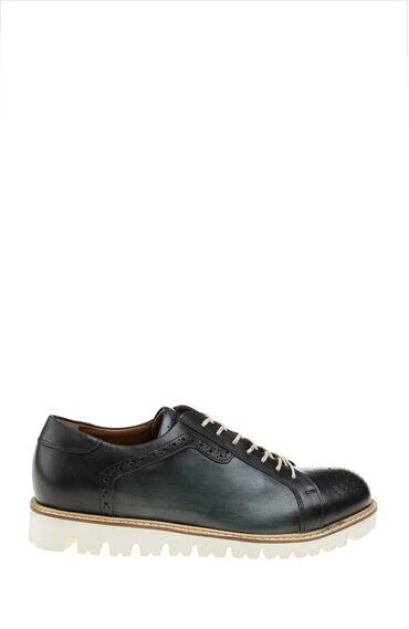Zımba Desenli Lacivert Bağcıklı Deri Ayakkabı
