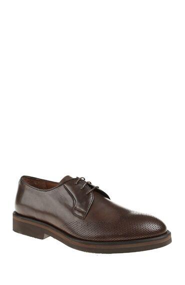 Zımba Dokulu Kahverengi Deri Ayakkabı