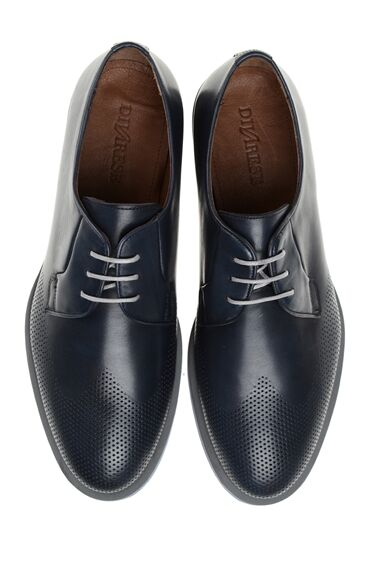 Zımba Dokulu Lacivert Deri Ayakkabı