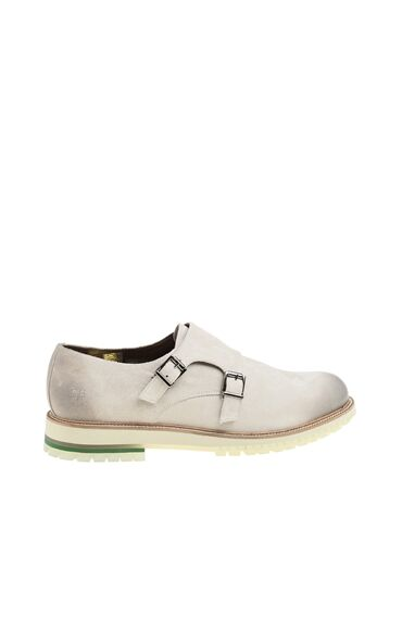 Bej Rengi Çift Kemerli Erkek Nubuk Ayakkabı