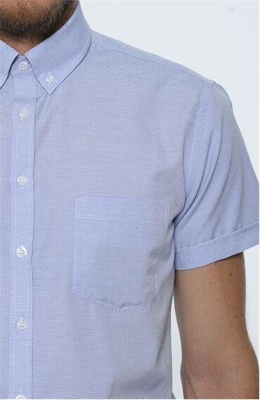 Armürlü Lacivert-Beyaz Gömlek
