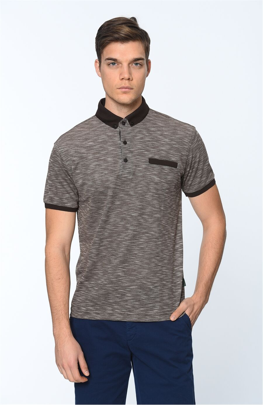 Polo Yaka Regular Fit Kahverengi Tshirt